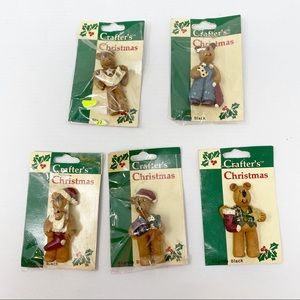 NEW Vintage Crafters Christmas Bears Set of 5
